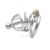 arc-shape stainless steel male chastity device cb6000s cock cage with penis plug urethral catheter penis lock sex toys for men
