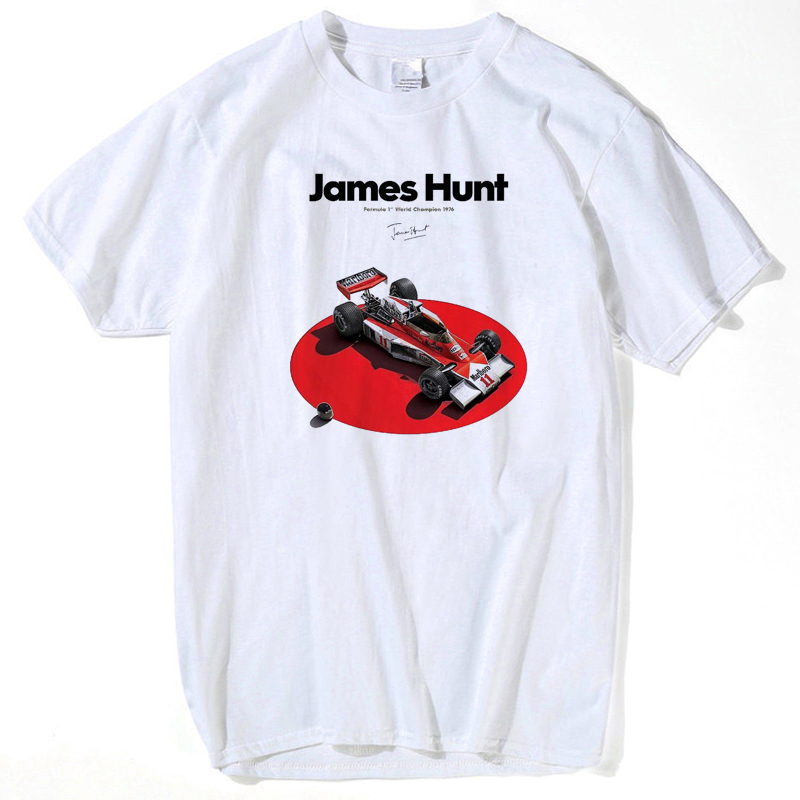 summer white tops men tops 2018 Clothing <font><b>F1</b></font> Car Styling James Hunt Printed <font><b>T</b></font> <font><b>Shirt</b></font> Fashion Novelty Short Sleeve Tee Tops s-xxxl image