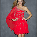 Cheap 2015 Elegeant Red Women Clothes Vestidos Gown One Shoulder Beaded Short Prom Dresses Plus Size Beaded Party Gown