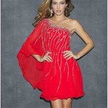 Ucuz 2015 Elegeant Kırmızı Hanım Giysileri Vestidos Önlük Bir Omuz Boncuklu Kısa Gelinlik Modelleri Artı Boyutu Boncuklu Parti Elbise