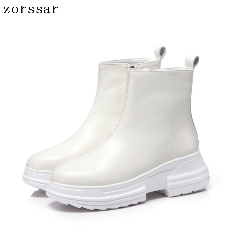 {Zorssar} 2019 New Fashion Young Women short Boots Platform Shoes Genuine Leather Flat Heel Ankle Boots winter Female booties zorssar winter fur female boots flat heel ankle boots genuine leather platform shoes boots women booties botas mujer invierno