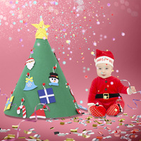 New 3D DIY Felt Toddler Christmas Tree New Year Kids Gifts Toys Artificial Tree Xmas Home Decoration Hanging Ornaments 2019