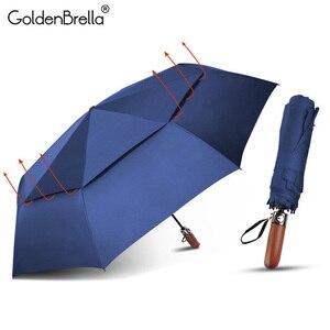 Высококачественный двухслойный зонт с имитацией деревянной ручки, Ветрозащитный Автоматический Зонт от дождя для женщин и мужчин, 3 сложен...