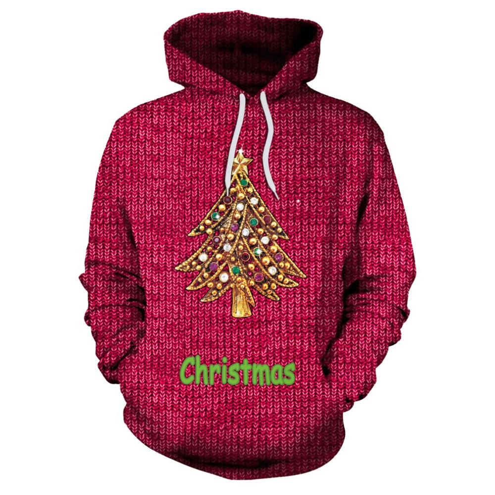 Winter Christmas Theme Women Hooded Sweatshirts Red Color Christmas Tree Printed for Ladies Female Autumn Casual Pullover Tops