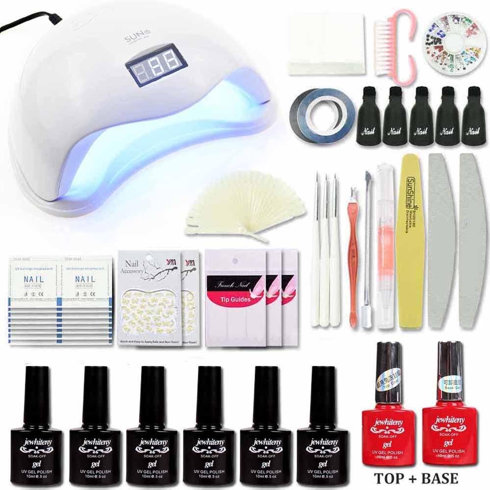 Nail kit 48/36W UV LED Lamp Timer Nail Dryer 10ml 6 Colors UV Gel Polish Nail Art Kit Set 1Top 1Base Manicure Nail set