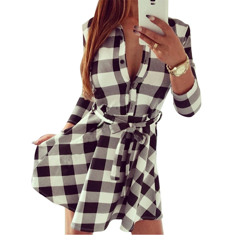 Women Plaid Mini Bandage Dress Shirt Dresses Tops