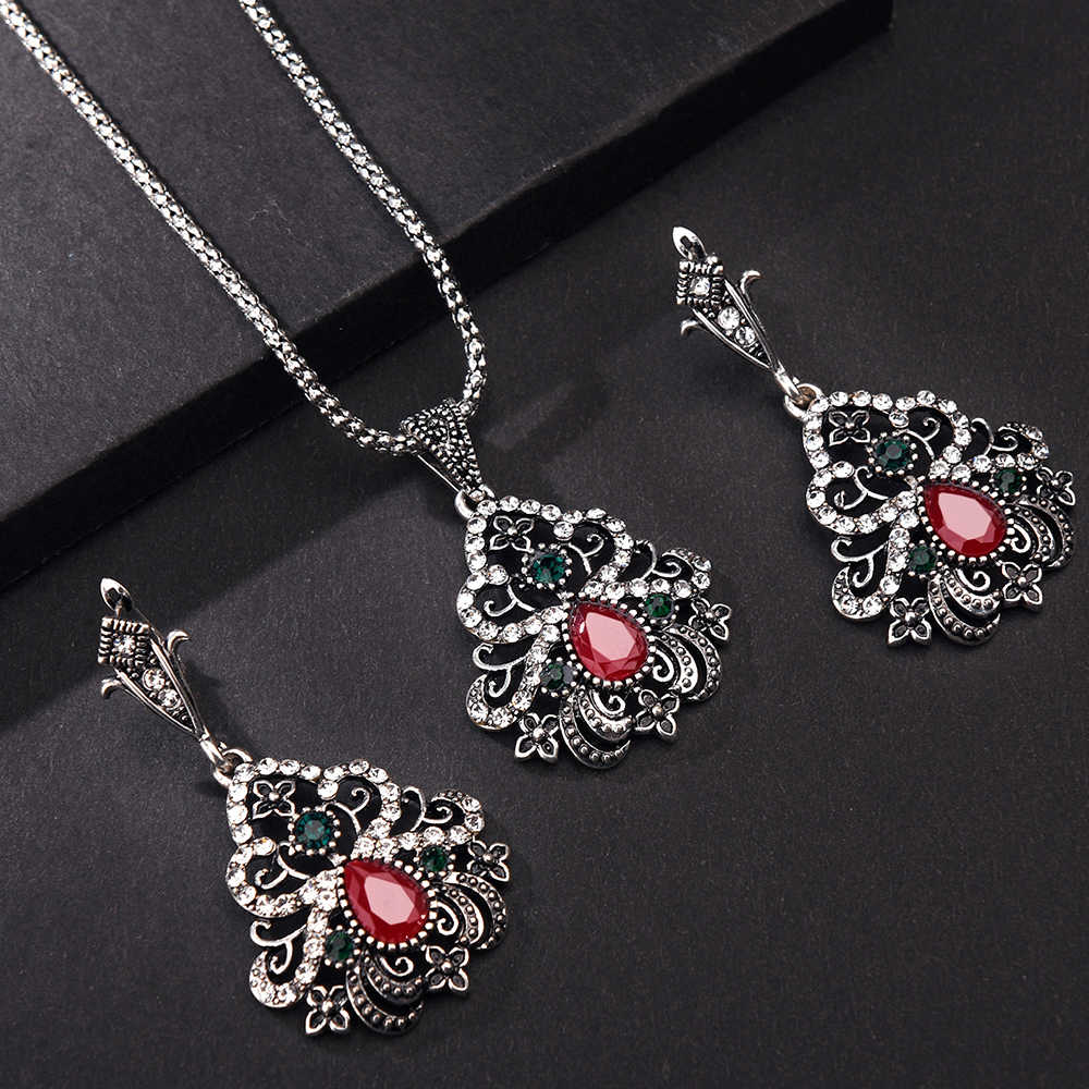 Vintage Rhinestone Pendant Necklace Sets Earring Women Silver color Sets Turkish Wedding Middle East Countries Jewelry