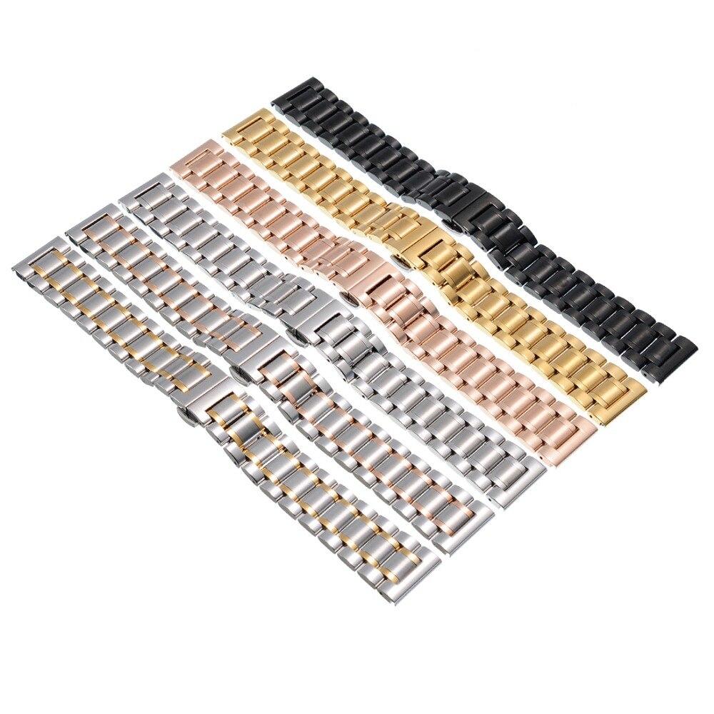 Prix pour 2016 Nouvelle Mode 14mm16mm 17mm 18mm 19mm 20mm 21mm 22mm Acier inoxydable Solide Lien Montre de Courroie De Bande Bracelet Droite Fin Bande