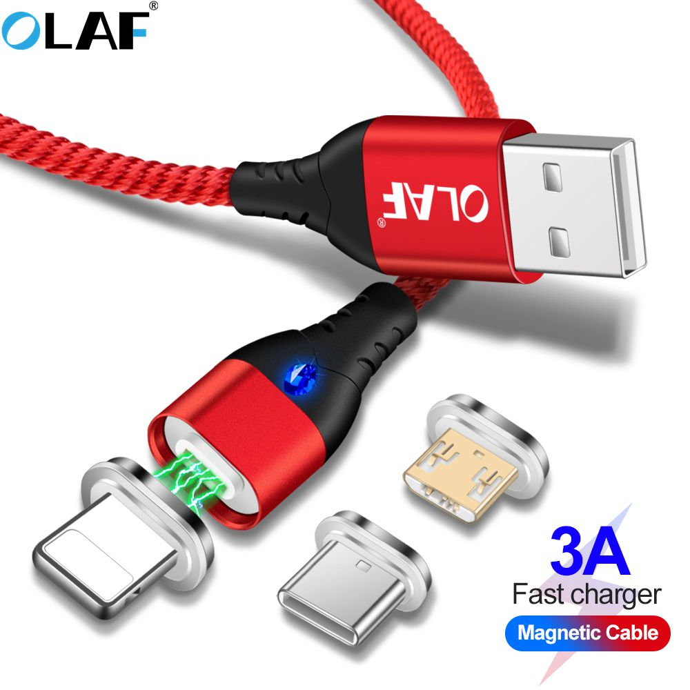 US $1 51 25% OFF 5A LED For Lightning Magnetic Cable Micro USB Type C Cable  For iPhone Samsung Huawei xiaomi oneplus 6 Magnet Fast Charging Cable-in