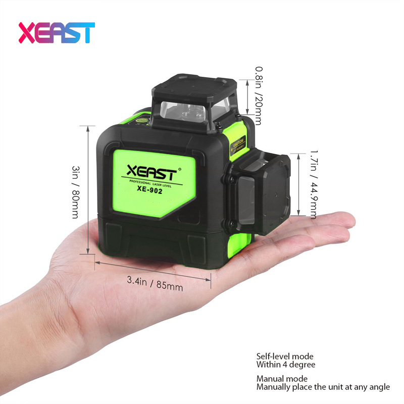XEAST 8line laser level XE-902 360 Vertical And Horizontal Self-leveling Cross Line 3D Laser Level 4H+4V Red Beam free shipping highly visible line laser kapro 810 with vertical and horizontal vials