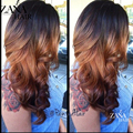 Highlight Brown Brazilian Virgin Ombre Lace Wigs Custom Long Wet Wavy Glueless Full Lace Human Hair Wigs Ombre Lace Front Wig