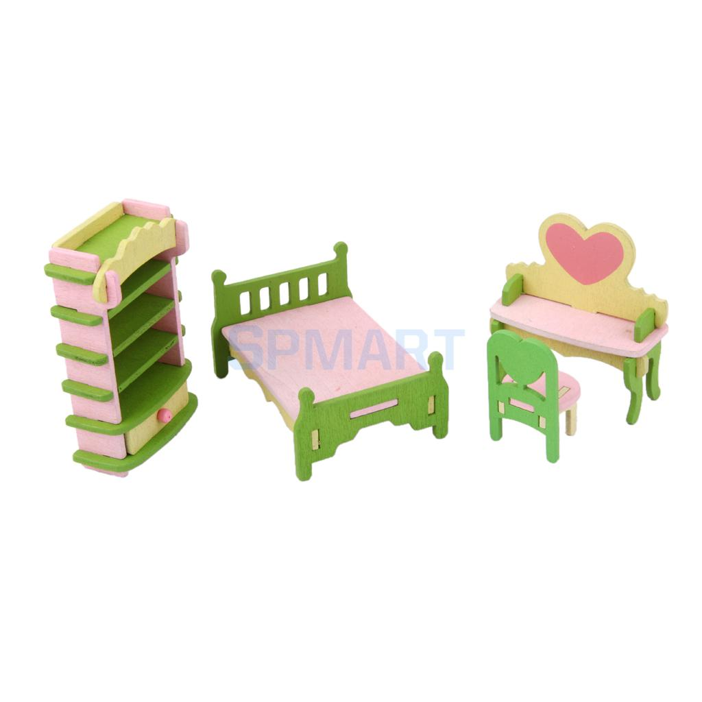 Dollhouse Funiture Wooden Toy Kids Bedroom Set