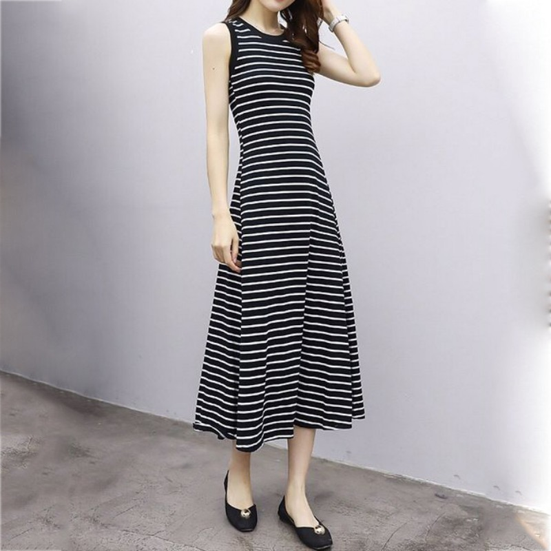 New Simple Striped Summer Dress O Neck Sleeveless Casual Strap Vintage Dress Long Fit And Flare Elegant Slim Dess Female Vestido
