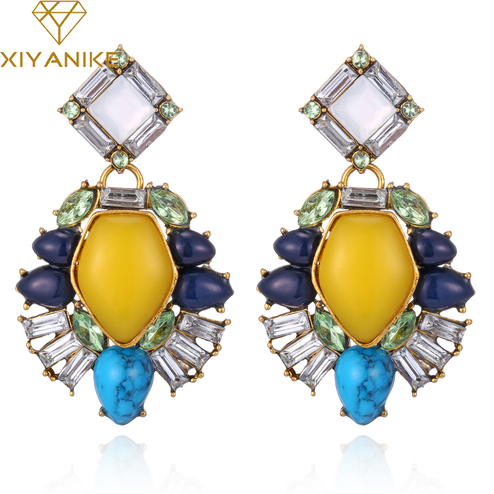 XIYANIKE New Jewelry Yellow Gem Brincos bijoux Summer Style Drop Earrings Fashion Jewelry Boucle doreille Pendientes E377
