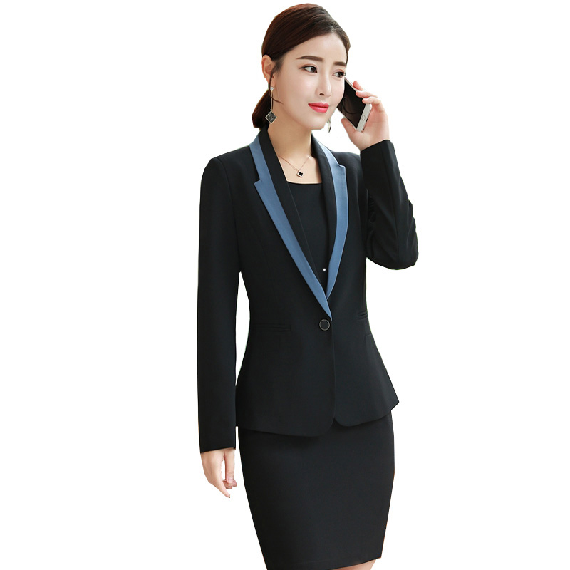 Womens Blazer + Dress Korean Business Clothes Sets 2018 Autumn New Office Ladies Fashion Formal Casual OL Spring Interview Suit