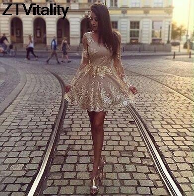ZTVitality 2017 Color Champagne Vestidos de Las Mujeres Remiendo de La Manera Ve