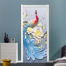 Custom Photo Wallpaper Modern 3D Stereo Peacock Oil Painting Door Sticker Living Room Bedroom Creative Decor 3D Mural Wall Paper