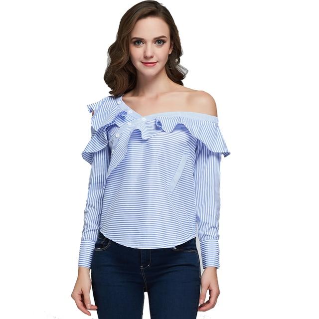 69df2b2f5 2017 wiosna ans lato kobiety moda ruffles bluzka damska eleganckie bluzki  stripped koszule kobiet