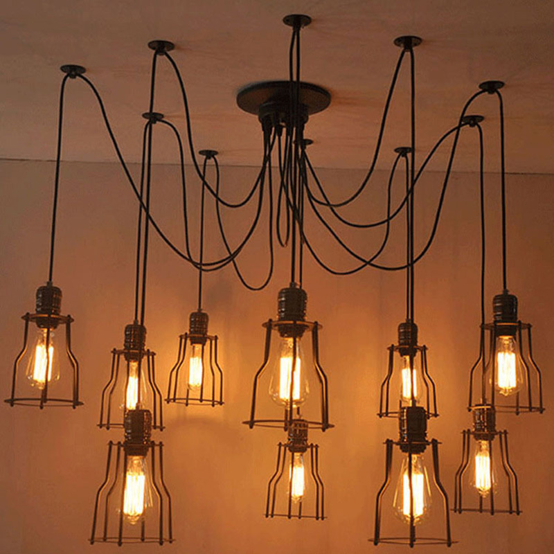 Vintage Spider pendant lights luminaire lamp Loft E27 Industrial Lighting Retro Loft Hanging Suspension Fixtures Home 110V 220V diy vintage lamps antique art spider pendant lights modern retro e27 edison bulb 2 meters line home lighting suspension