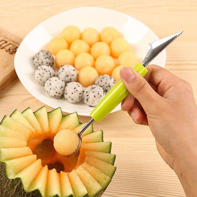 Sáng tạo Kem Đào Bóng Scoop Muỗng Baller DIY Các Loại Lạnh Món Ăn Công Cụ Dưa Hấu Trái Cây Khắc Knife Cutter Gadge