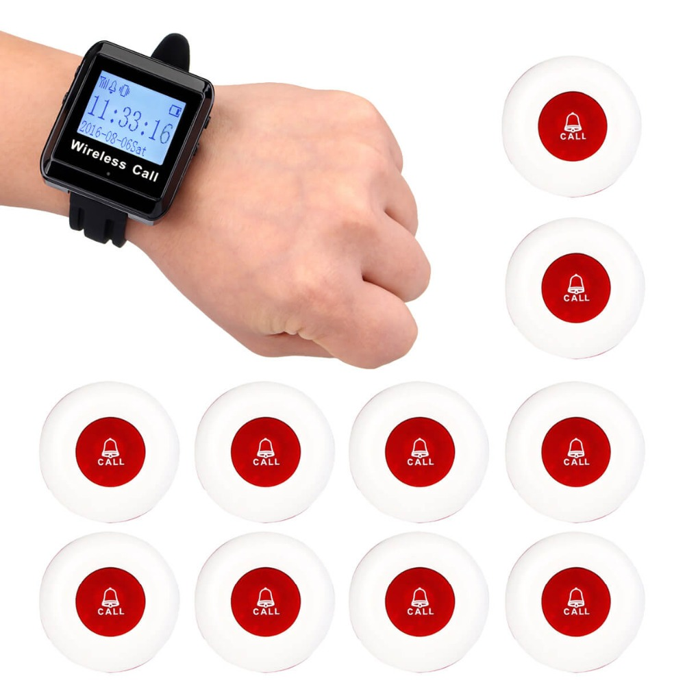 1 Watch Receiver+10 Call Button 433MHz Wireless Pager Calling Paging System Restaurant Equipments Customer Service F3258 wireless waiter pager system factory price of calling pager equipment 433 92mhz restaurant buzzer 2 display 36 call button