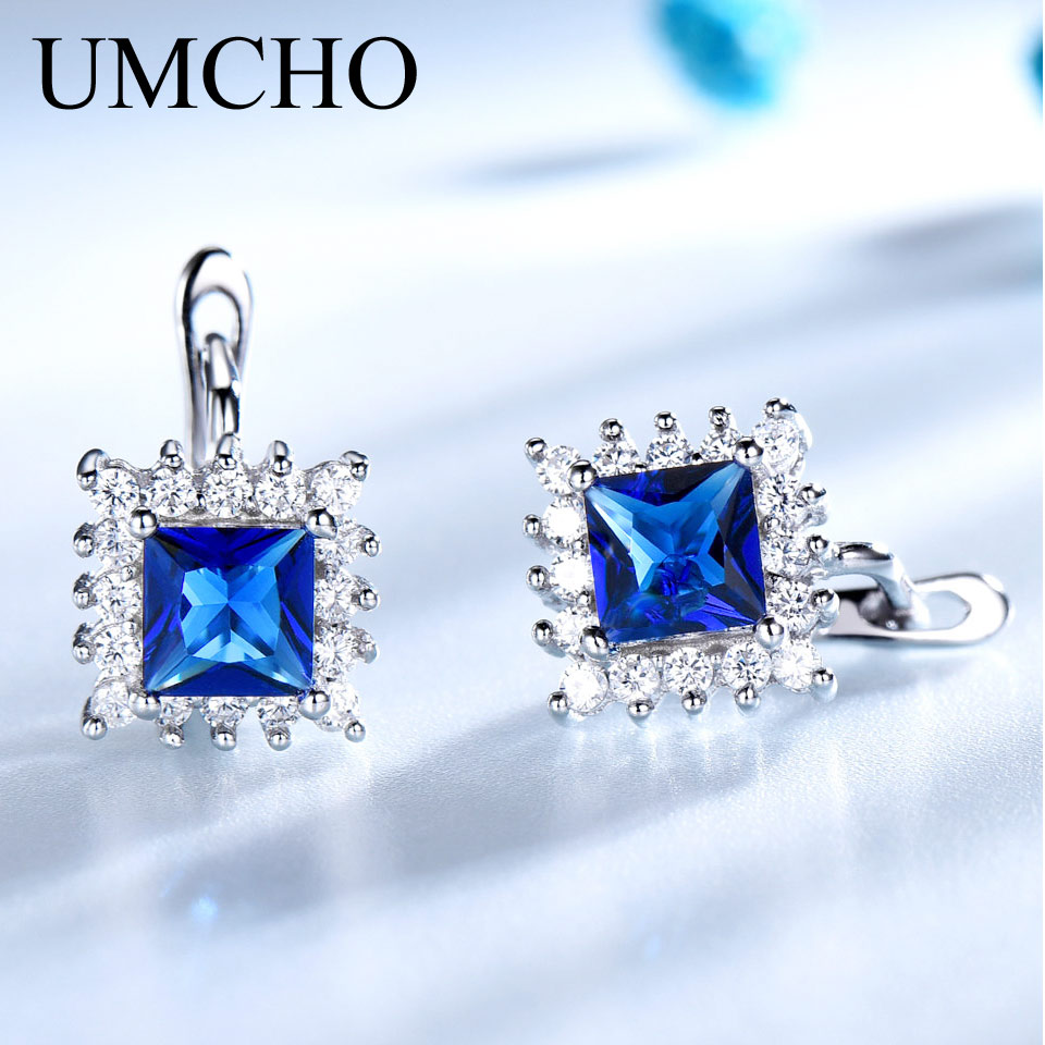 UMCHO Simulated Blue Sapphire Clip Earrings For Women Solid 925 Sterling Silver Jewelry Wedding September Birthstone Earrings