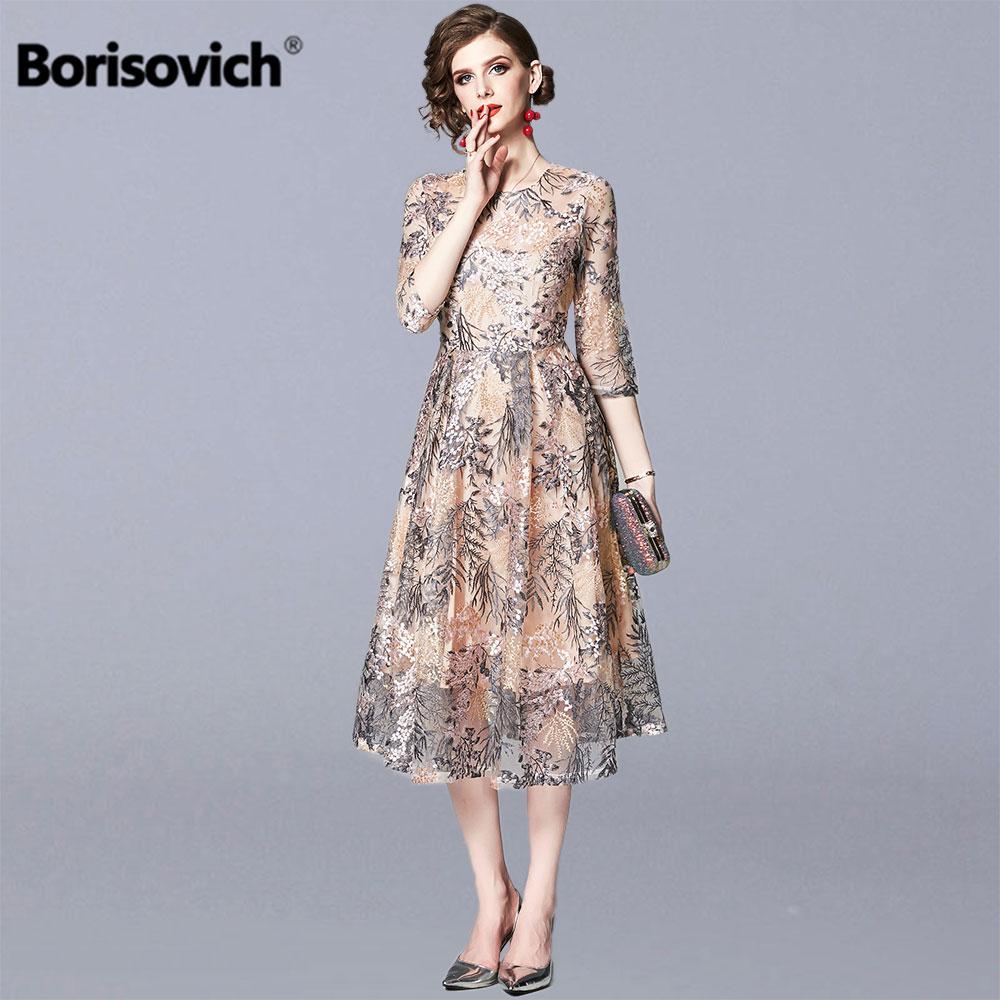 Borisovich Ladies Evening Party Dresses New 2019 Fashion England Style Luxury Embroidery Women Elegant A-line Long Dress N1148