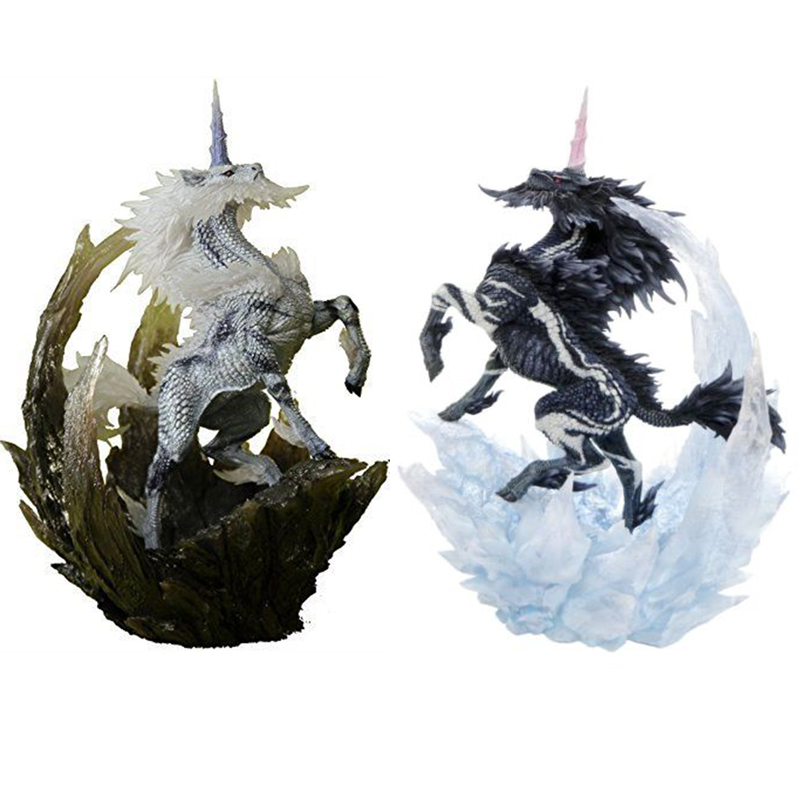Original Japanese Anime Monster Hunter Ice Unicorn and White Kirin PVC Models 22cm Height Action Figure Toys Best Boy Gift