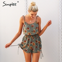 Simplee Casual Floral Print Strap Ruffles Playsuits Two Piece Rompers Women High Waist Drawstrings 2018 Summer