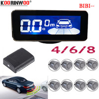 Koorinwoo Electromagnetic LCD Digital Screen Car parking sensors 4/6/8 Radars front Voice Buzzer Back Reverse Parktronic System