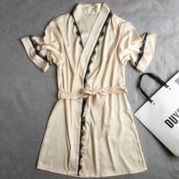 Silk Satin Wedding Bride Bridesmaid Robe Bathrobe Short Sleeve Kimono Robe Night Robe Bath Robe Fashion