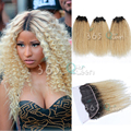 New Arrival 7A #1B/613 Blonde Ear to Ear 13x4 Lace Frontal Closure With Bundles Indian Virgin Hair Kinky Curly With Baby Hair