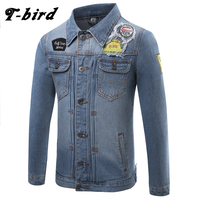 T Bird Men Shirt Brand Male Long Sleeve Shirts Casual Denim Shirts Slim Fit Mens Bomber