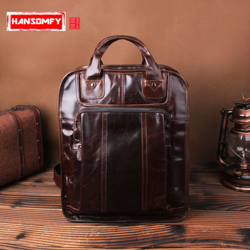 Men backpack Shoulder bag male genuine leather retro oil wax cowhide shoulder business casual laptop bag
