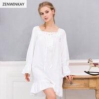 2017 Spring Summer White Nightdress Cotton Nighties For Women Sleepwear Cotton Dress Long Sleeve Cotton Nightgown