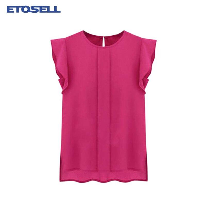 Women Spring Summer Chiffon   Blouses   O-neck Ruffle Short Sleeve chiffon   Shirt   Top 2019 New Arrival Womens Tee Tops blusa feminina