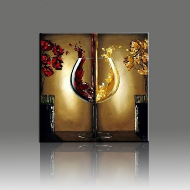 Wine Glass Hand Painted Oil Painting Flower Landscape Canvas 2 Pcs Wall Art  Decoration Pieces