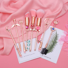 Hot Sailor Moon Cosmetic Brush Makeup Brushes Set 8pcs Tools kit Eye Liner Shader Foundation Powder Natural-Synthetic Pink Hair(China)