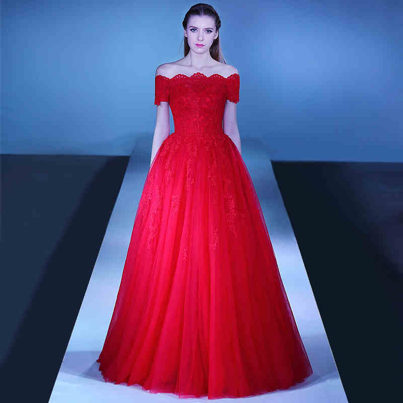 Red Prom Dress 2017 A Line Boat Neck Off Shoulder Sexy Backless ...