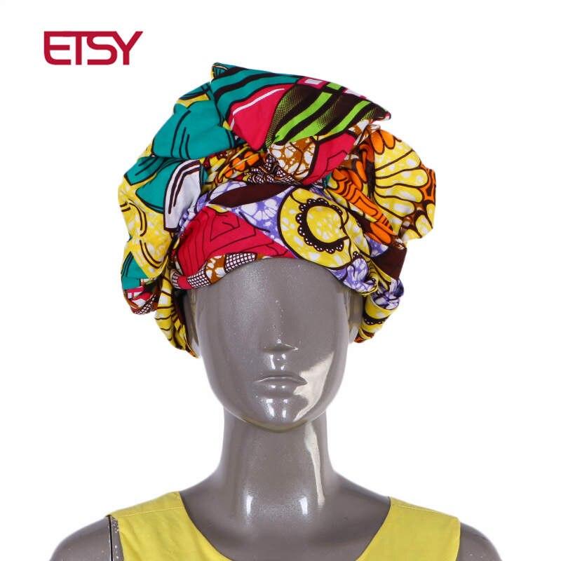 Blue Green Ethnic African Ankara Print Hair Wrap Geometric Head Band Turban Tie