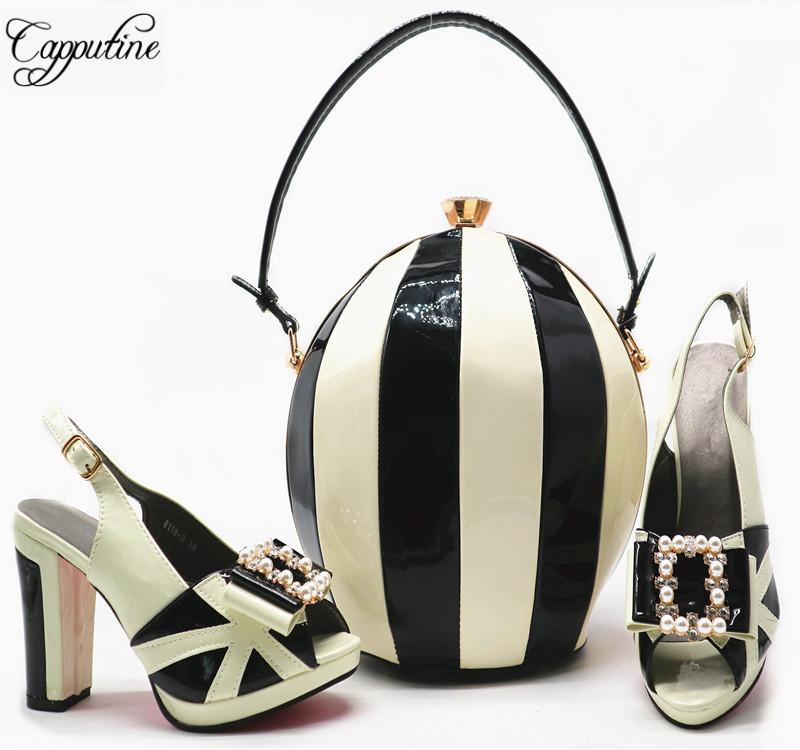New Arrival 2018 Fashion Rhinestone PU Leather Woman Shoes And Bags Set Italy Style High Heel