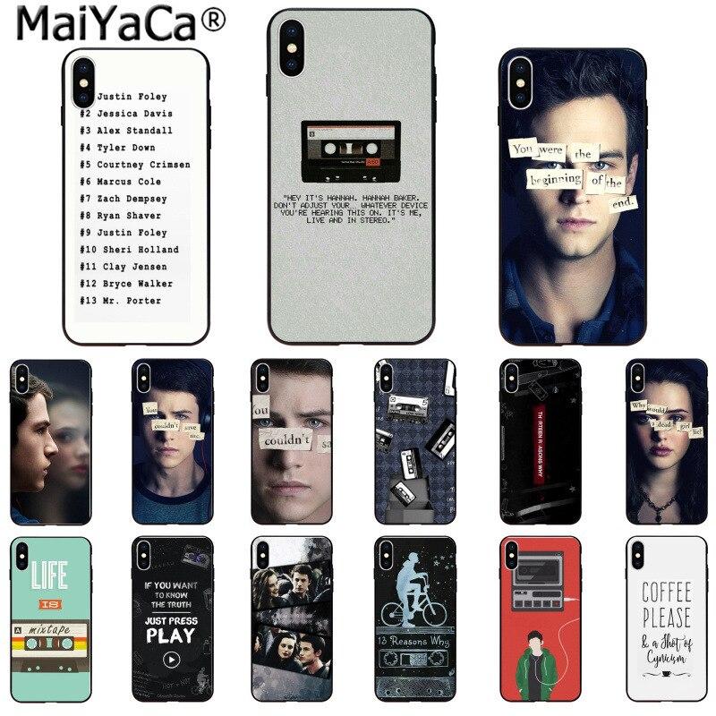 MaiYaCa 13 причин, почему черный ТПУ мягкий резиновый чехол для телефона для Apple iPhone 8 7 6 6 S Plus X XS Макс 5 5S SE XR крышка мобильного