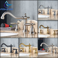 Bathroom Basin Faucet 3pcs Waterfall Sink Faucet Two Handle Faucets Hot And Cold Water Mixer Tap