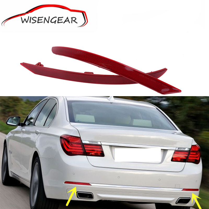 ФОТО Car Styling Red Lens Rear Bumper Reflector Fog Warn Light For BMW F02 F03 7-series 2013 2014 2015  C/5