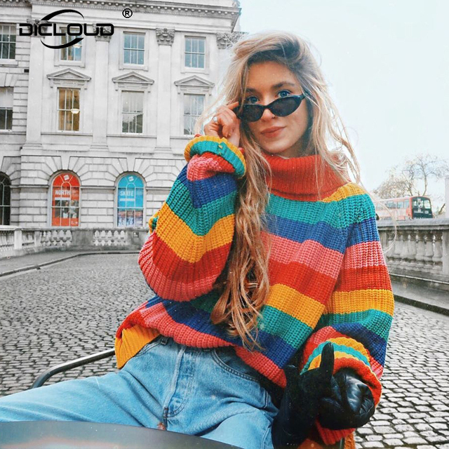 33472896a4 Harajuku Striped Women Rainbow Sweaters Pullovers Girls Turtleneck  Oversized Knitwear Street Fashion Women Autumn Winter Jumpers