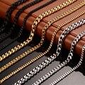 Meaeguet Moda 24/30 inch longo colar 3mm/5mm/7mm largura de aço inoxidável longo banhado a ouro cadeia colar de jóias