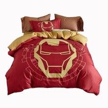 100% algodón del lecho de la reina tamaño individual iron Man chicos de anime de impresión reactiva ropa de cama edredón colcha almohada suave