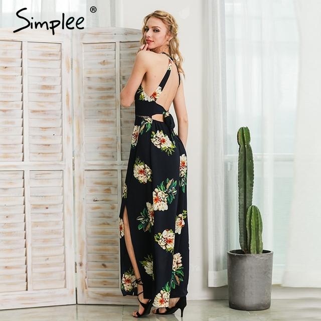 Simplee Halter chiffon beach summer dress Women floral print  new long dress Sexy 2017 backless split maxi dresses vestidos