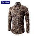 Новый Дизайн Осень мужская Рубашка С Длинным Рукавом Рубашки Платья Casula Цветок Сорочка Homme Одного Breastged Camisa Социальной Brand Clothing