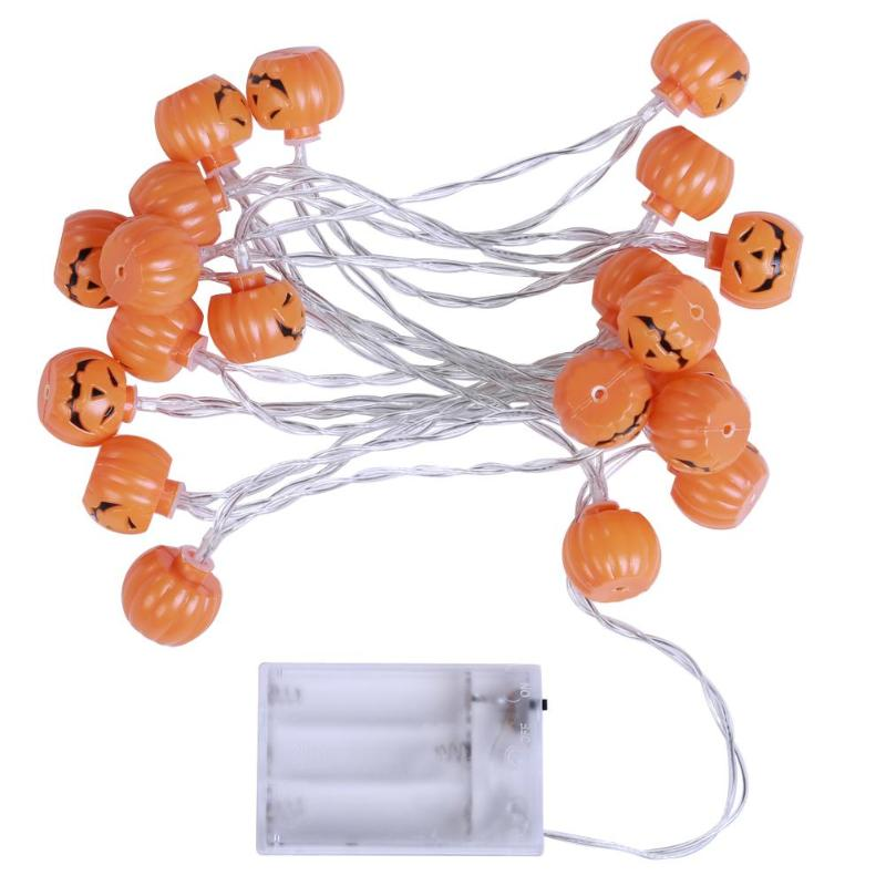 Hanging Halloween Pumpkin Lantern 3D Plastic String Light 20 LED Orange Pumpkin Lights Halloween Holiday Decor Battery Operated